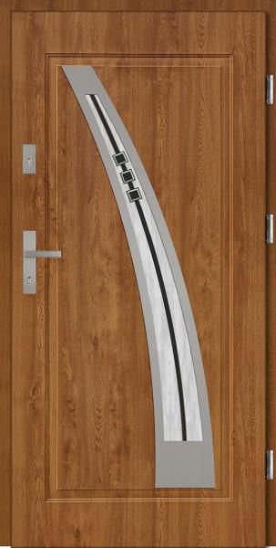Drzwi stalowe zewnętrzne złoty dąb szyba DIP Enrico marki SETTO