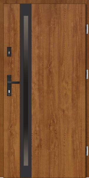 Drzwi wejściowe brązowe złoty dąb czarna ramka Marcello Uno Classico SETTO