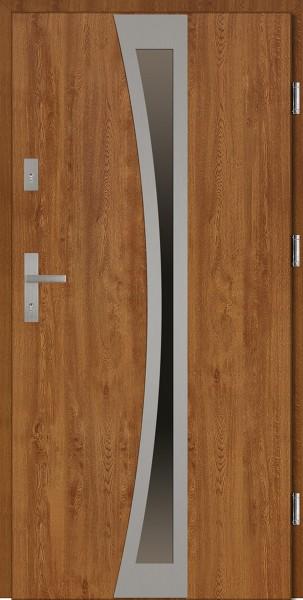Drzwi stalowe brązowe złoty dąb Ivo Classico SETTO