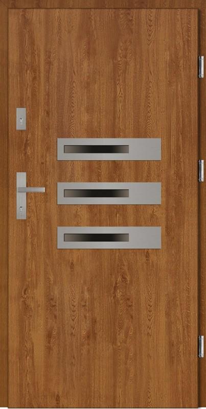 Drzwi wejściowe zewnętrzne złoty dąb ramka INOX Armando 56 mm
