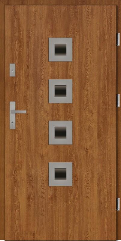 Drzwi wejściowe zewnętrzne złoty dąb ramka INOX Carlo 56 mm