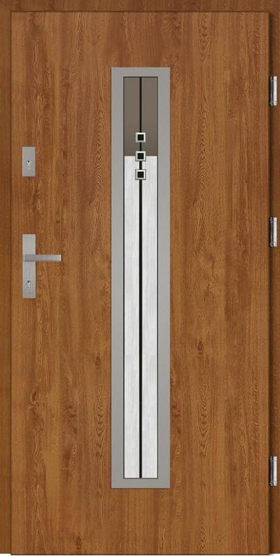 Drzwi wejściowe zewnętrzne złoty dąb ramka INOX Diego DIP 56 mm