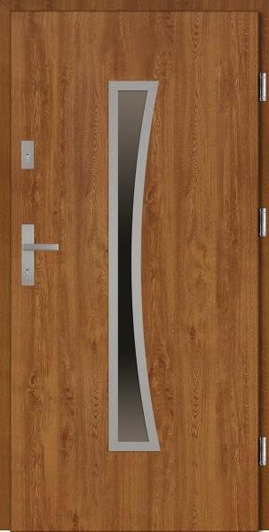 Drzwi wejściowe zewnętrzne złoty dąb ramka INOX Raffaello 56 mm