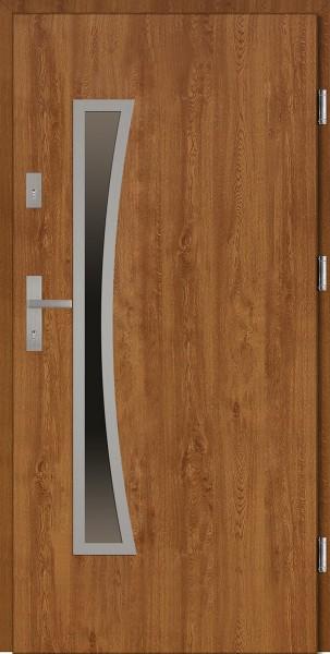 Drzwi wejściowe zewnętrzne złoty dąb ramka INOX Raffaello Uno 56 mm