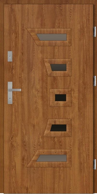 Drzwi wejściowe zewnętrzne zewnętrzne złoty dąb ramka PCV Piccolo 56 mm