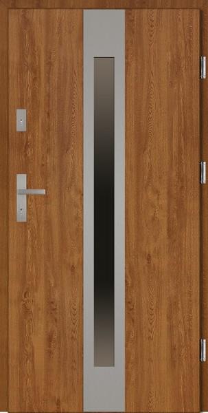Drzwi wejściowe zewnętrzne złoty dąb ramka INOX Sergio 56 mm