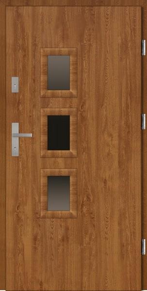 Drzwi wejściowe zewnętrzne złoty dąb ramka PCV Bruno 56 mm