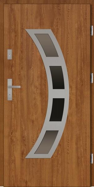 Drzwi wejściowe zewnętrzne złoty dąb ramka INOX Ricardo 56 mm