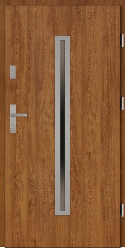 Drzwi wejściowe zewnętrzne złoty dąb ramka INOX Paolo 56 mm