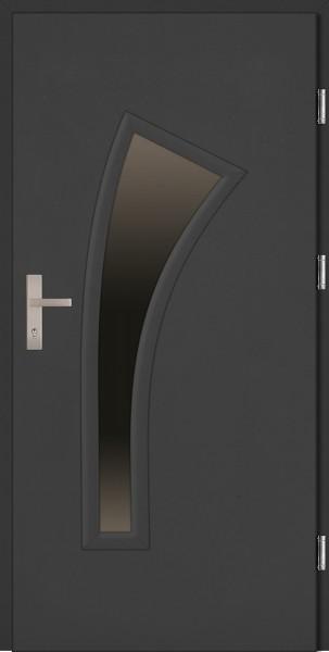 Drzwi zewnętrzne wejściowe antracyt PCV VETRO 68 mm
