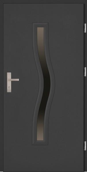 Drzwi zewnętrzne wejściowe antracyt INOX Serpente 68 mm