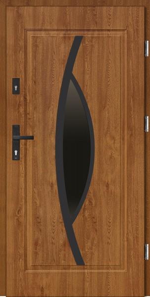 Drzwi wejściowe stalowe złoty dąb NERO Lorenzo 68 mm
