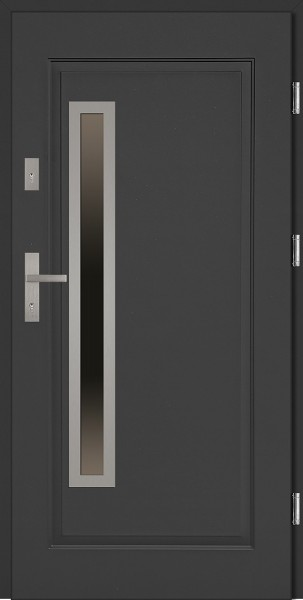 Drzwi wejściowe stalowe antracyt INOX Dario Uno 68 mm