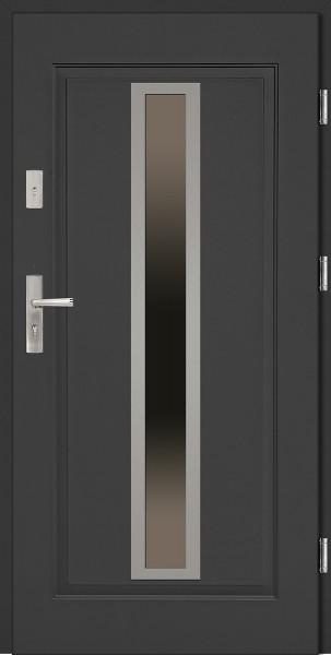 Drzwi wejściowe stalowe antracyt INOX Diego 68 mm