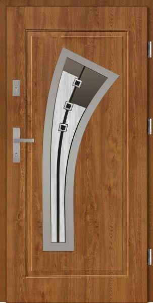 Drzwi wejściowe stalowe złoty dąb INOX Leonardo DIP 68 mm