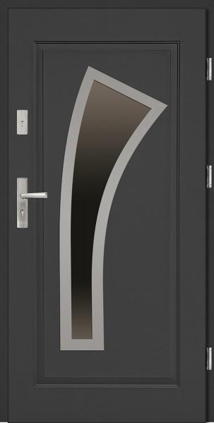 Drzwi wejściowe stalowe antracyt INOX Leonardo 68 mm