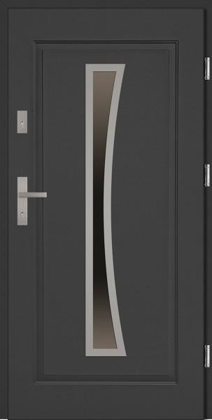 Drzwi wejściowe stalowe antracyt INOX Raffaello 68 mm