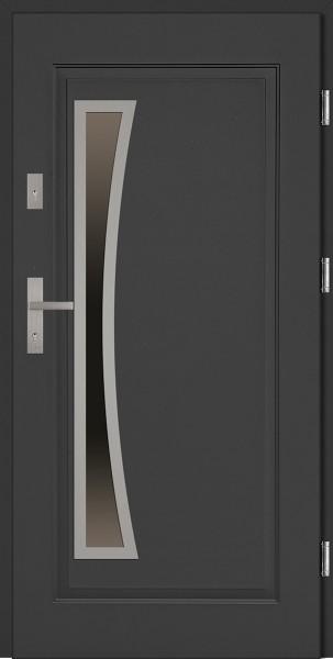 Drzwi wejściowe stalowe antracyt INOX Raffaello Uno 68 mm
