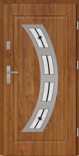 Drzwi wejściowe stalowe złoty dąb INOX Ricardo DIP 68 mm
