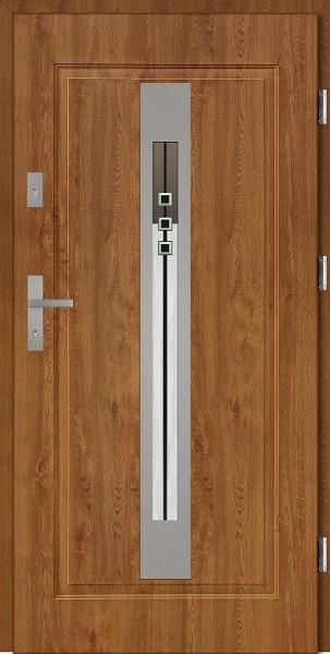 Drzwi wejściowe stalowe złoty dąb INOX Fabio DIP 68 mm