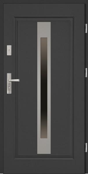 Drzwi wejściowe stalowe antracyt INOX Fabio 68 mm