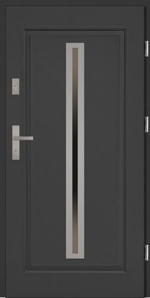 Drzwi wejściowe stalowe antracyt INOX Paolo 68 mm