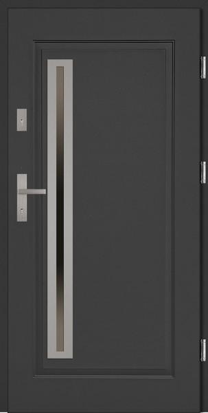 Drzwi wejściowe stalowe antracyt INOX Paolo Uno 68 mm
