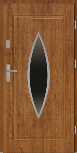 Drzwi zewnętrzne do domu złoty dąb INOX Ernesto 56 mm