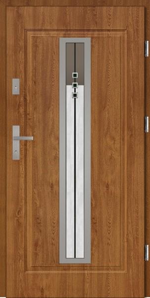 Drzwi zewnętrzne do domu złoty dąb INOX Diego DIP 56 mm