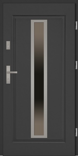 Drzwi zewnętrzne do domu antracyt INOX Diego 56 mm