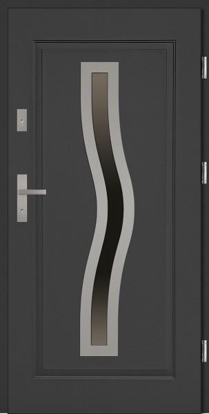 Drzwi zewnętrzne do domu antracyt INOX Rino 56 mm
