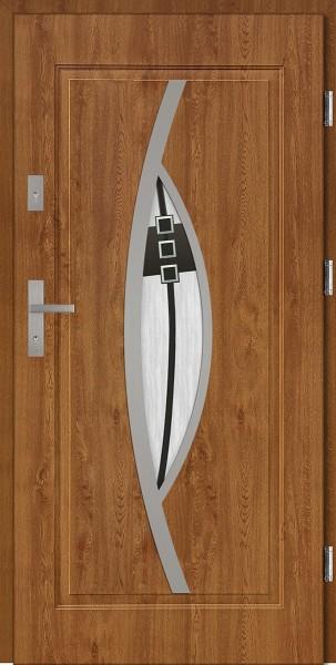 Drzwi zewnętrzne do domu złoty dąb INOX Lorenzo DIP 56 mm