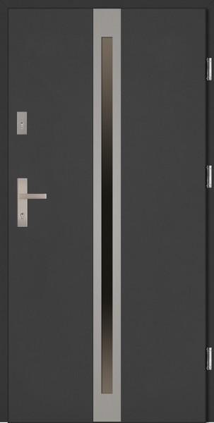 Drzwi zewnętrzne antracyt ramka INOX Marcello