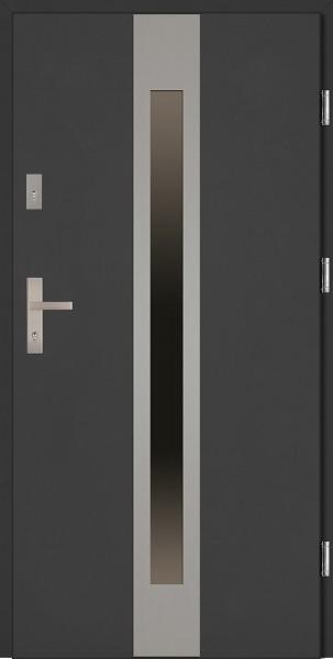 Drzwi stalowe antracyt ramka INOX Sergio Classico
