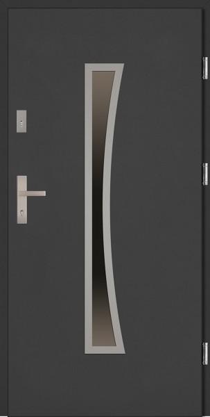 Drzwi zewnętrzne antracyt ramka INOX Raffaello Classico