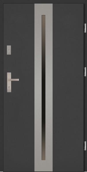 Drzwi zewnętrzne antracyt ramka INOX Matteo Classico