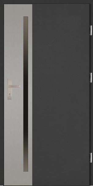 Drzwi wejściowe antracyt ramka INOX Apollo Uno Plus SETTO
