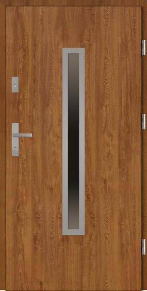 Drzwi wejściowe złoty dąb Dario Płaskie SETTO