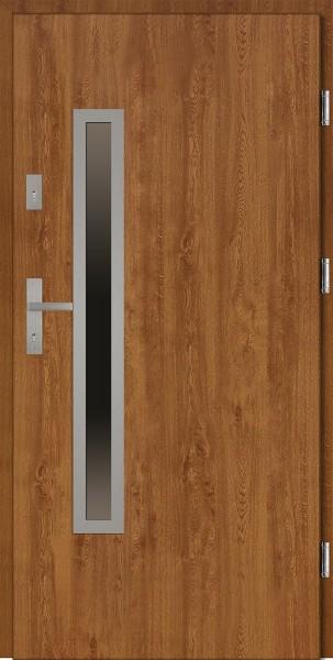 Drzwi wejściowe złoty dąb Dario Uno Płaskie SETTO