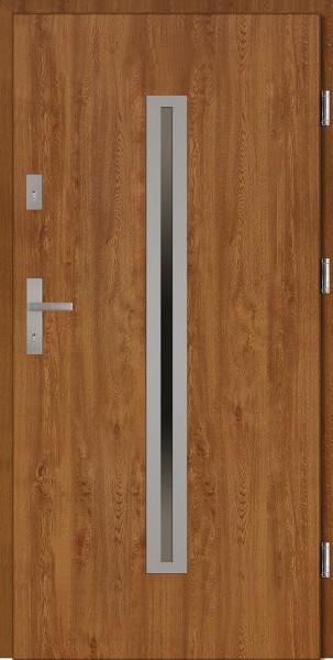 Drzwi wejściowe złoty dąb Paolo Płaskie SETTO