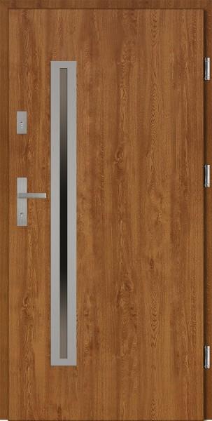 Drzwi wejściowe złoty dąb Paolo Uno Płaskie SETTO
