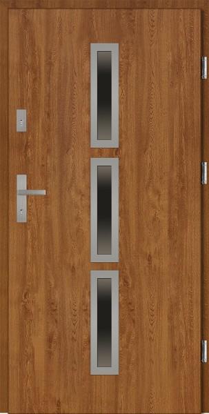 Drzwi wejściowe złoty dąb 90 cm Valentino Płaskie SETTO