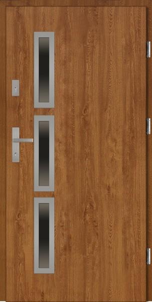 Drzwi wejściowe złoty dąb 90 cm Valentino Uno Płaskie SETTO