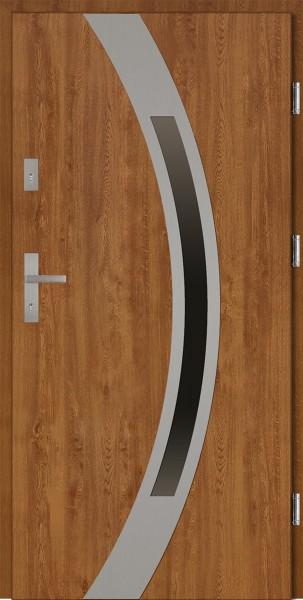 Drzwi wejściowe 90 cm złoty dąb Luciano Płaskie