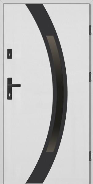 Drzwi wejściowe 90 cm białe z czarną ramką Luciano Płaskie SETTO