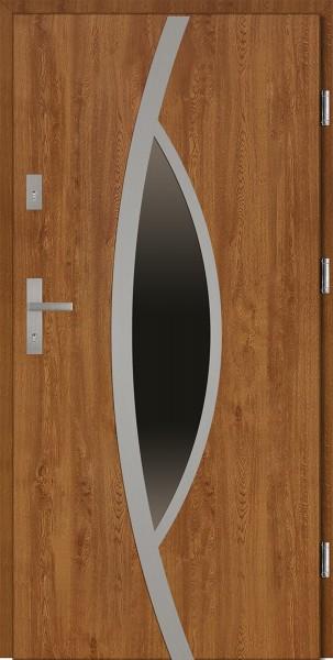 Drzwi wejściowe 90 cm złoty dąb Lorenzo Plus Płaskie SETTO
