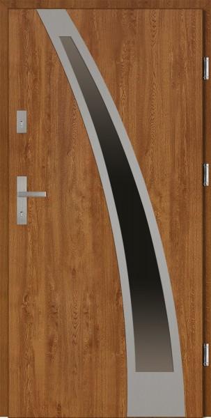 Drzwi wejściowe 90 cm złoty dąb Enrico Plus Płaskie SETTO