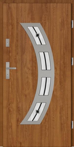 Drzwi wejściowe złoty dąb Ricardo Płaskie SETTO