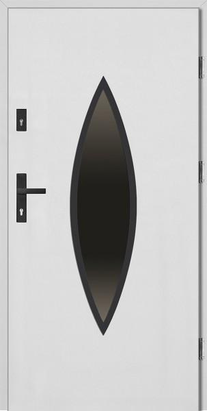 Drzwi wejściowe białe z czarną ramką Ernesto Płaskie SETTO