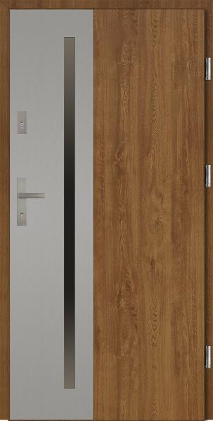 Drzwi wejściowe 90 cm złoty dąb Augusto Uno Płaskie SETTO